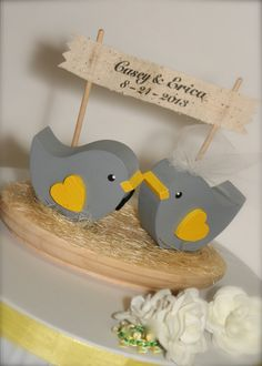 Wedding Cake Topper Love Birds Woodland Wedding by primitiveseason, $22.00