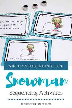 "This winter, preschoolers can practice sequencing with this set of ""how to build a snowman"" sequence card printables. Perfect for your winter lessons. Sequencing Cards, Sequencing Activities, Winter Activities For Kids, Hands On Activities, Pete The Cat Author, Winter Fun, Winter Time, Author Studies, Build A Snowman"
