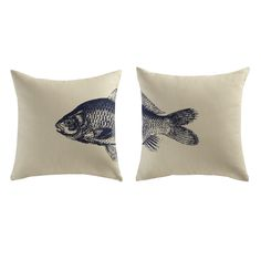 NICE 2 fish cotton cushions in beige / blue 40 x 40cm