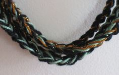 Black Green & Sparkling Copper Crocheted by SillySalmonDesigns, $10.00