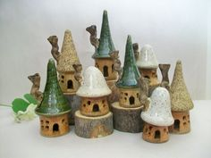 Fata case - giardino case delle fate - Set di 3 case di gres porcellanato - fatti a mano su Potters Wheel - pronto per la spedizione ora