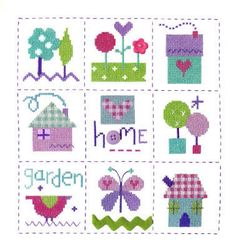 Gingham Sampler - Home sampler cross stitch kit which includes the addition of ribbon and buttons.  Designed by The Stitching Shed.