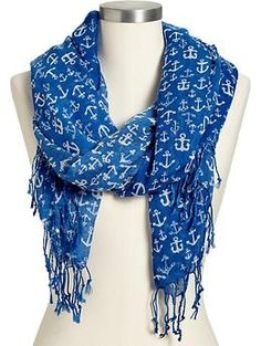 Women's Anchor-Print Gauze Scarves | Old Navy