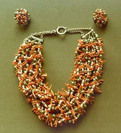Jewelry set Date: 1950s Culture: American (probably) Medium: coral, glass, base metal