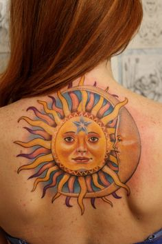 Beautiful Celestial Tattoo http://www.pairodicetattoos.com/beautiful-celestial-tattoo/