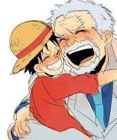 Luffy and GARP   Luffy Garp   One Piece