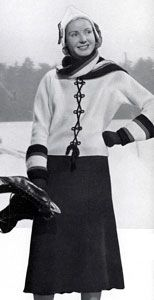 Skating Set knit pattern from Minerva Styles the Future, originally published by Minerva Yarns, Volume No. 45, in 1936.