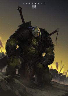 Orc Warrior, Fantasy Warrior, Fantasy Rpg, Medieval Fantasy, Dark Fantasy, Dnd Characters, Fantasy Characters, Fantasy Inspiration, Character Inspiration