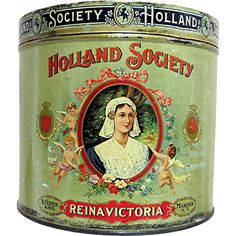 C. 1900s Holland Society Cigar Tin, Lithograph lid with gold leaf lettering; would have contained 50 cigars; made by B. Feifer & Co. of  New York. Located in Central Manhattan, in the 2nd District of New York. Lithograph label is on both the front and back sides, featuring Holland Society logos on either side of a medallion with Reina Victoria in the center and. Can made by Liberty Can Co. 1919 to 1955 of Lancaster Pennsylvania.