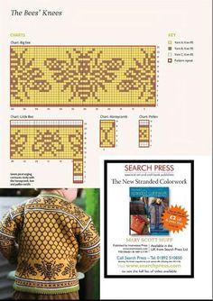 The bee's knees intarsia sweater pattern Knitted Mittens Pattern, Fair Isle Knitting Patterns, Fair Isle Pattern, Knitting Charts, Knitting Stitches, Knitting For Kids, Knitting Projects, Baby Knitting, Fair Isle Chart