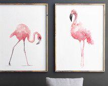 Flamingo Suluboya, 2 Birds Set, Pembe Soyut Sanatsal Baskı, Flamingos Kreş Dekor