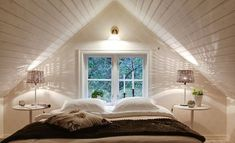 Attic Remodel Low Ceiling and Attic Apartment Living Room. House, Home, White Apartment, Bedroom Loft, Sleeping Loft, Loft Room, Loft Spaces, Bedroom Decor, Modern Apartment