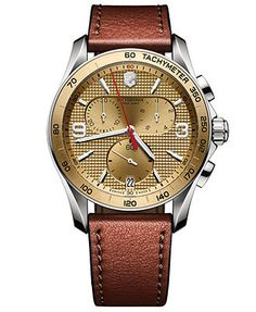 Victorinox Swiss Army Men's Chronograph Classic Brown Leather Strap Watch 41mm 241659