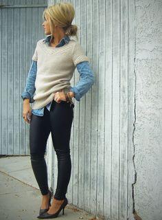 Cute hair do, and I love the short sleeve sweater over a denim shirt.