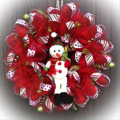Red Christmas Deco Mesh Wreath Snowman Center