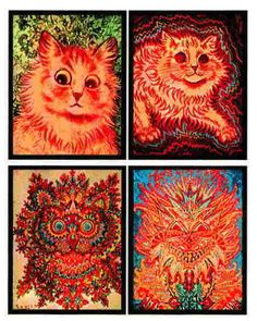 The Stages of Schizophrenia - A 20th-century artist, Louis Wain, who was fascinated by cats, painted these pictures over a period of time in which he developed schizophrenia. The pictures mark progressive stages in the illness and exemplify what it does to the victim's perception.