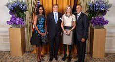 New York, 29 september 2015: Koning Willem-Alexander, Koningin Máxima, Michelle Obama en president Barack Obama tijdens een ontmoeting bij de Verenigde Naties.