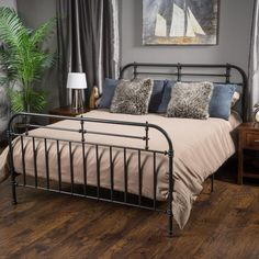 Denise Austin Home Yucatan King Charcoal Iron Bed