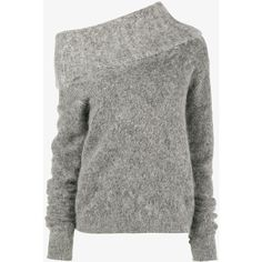 Acne Studios Raze high funnel neck jumper (1 345 PLN) ❤ liked on Polyvore featuring tops, sweaters, long sleeve tops, gray jumper, one shoulder top, grey long sleeve sweater and gray top