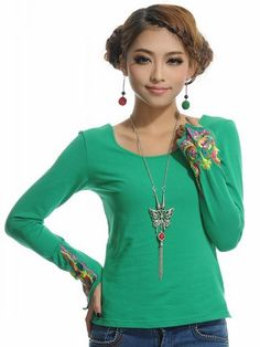 Chinese Style Embroidering Long Sleeve T-Shirt Green-- Click on the picture to order it>>Shop price:US$10.32---#shoes #wholesale #fashion #lovely #cheap #Korean #dress #sexy #clothes#