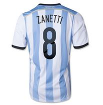 Argentina national team 2014 #8 ZANETTI HOME SOCCER JERSEY [1405271553]