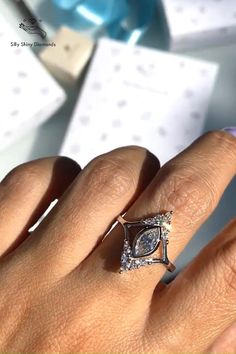 Celebrity Engagement Rings, Princess Cut Engagement Rings, Rose Gold Engagement Ring, Vintage Engagement Rings, Marquise Diamond, Diamond Cluster Ring, Diamond Rings, Silver Wedding Jewelry, Engagement Inspiration