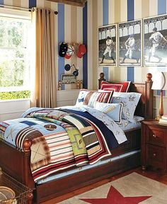 Boy bedroom, stripes and baseball, need a hat rack for boys, maybe out of a bat
