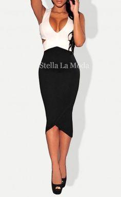 296ffe96ab9 Black White Sexy Cut-Out Midi Dress Casual Dresses