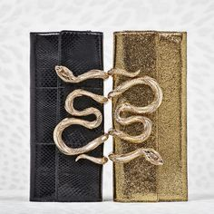 Show off your glamorous soul. Get inspired by these gold or black glittery #RobertoCavalliFW15 clutches enriched by a precious snake.