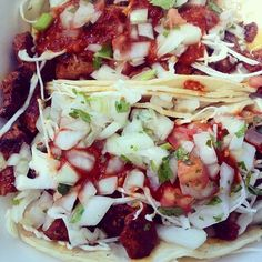 #Taco #HappyHour ends in one hour! Which #twotacos will you choose today? #tacotuesdayeveryday #porkalpastortacos