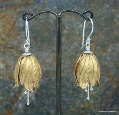 Tulip drop earrings on sterling silver by starboardjewellery
