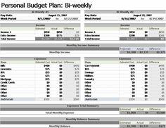 bi weekly budget planner