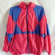 Vintage Laura Katherine Womens Plus Size Pink Windbreaker, Ski Jacket, Zip Up, 80s, 90s, Jacket, Costume, Winter Coat, Triangle Design, 20W by HollyDollyVintageCo on Etsy https://www.etsy.com/listing/475130810/vintage-laura-katherine-womens-plus-size