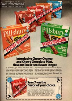 A chewy retro energy snack developed for astronauts became known as Pillsbury Space Food Sticks - treats in chocolate, caramel & peanut butter flavors. Retro Advertising, Retro Ads, Vintage Advertisements, Vintage Ads, Vintage Food, Vintage Stuff, Retro Recipes, Vintage Recipes, New Recipes