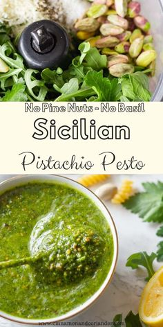 This simple pistachio pesto recipe with arugula and parsley is so easy to make using your blender or food processor. It's made without basil and no pine nuts. So good with salmon, chicken or drizzled over pizza. Can easily be made vegan, paleo and Pesto Vegan, Basil Pesto, Whole30 Pesto, Parsley Pesto, Chimichurri, Quick Recipes, Vegan Recipes, Sauce Carbonara, Mozarella