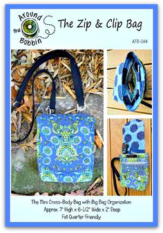 The Zip and Clip Bag pdf sewing pattern to download and print from Around The Bobbin.
