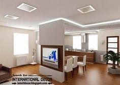Plasterboard false ceiling designs with lighting for living room Hidden Lighting, Cove Lighting, Best False Ceiling Designs, Office Ceiling, Plasterboard, Dinning Table, Living Room Pictures, Living Room Lighting, Living Room Designs