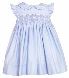 Petit Bebe by Anavini Infant / Toddler Girls Light Blue Poplin Smocked Float Dress