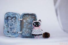 Ballerina Cat doll Small kitty doll Big eyed cat by mirianata