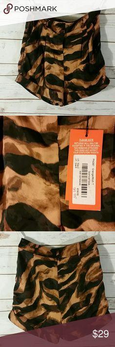 NEW Burnt Orange Zebra Print Silky Dress Shorts 2 Fantastic print for those who dare to wear it! Karen Millen Shorts