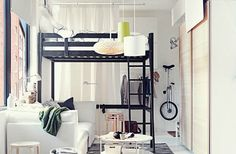 Related post bunk bed decorating ideas ikea loft bedroom kids furniture nursery cool rooms lofts apartments in under Small Space Bedroom, Small Space Living, Small Rooms, Small Beds, Small Couch, Living Spaces, Small Small, Living Rooms, Small Space Interior Design