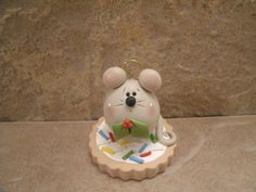 Mouse and Christmas Cookie Ornament by countrycupboardclay on Etsy, $8.94