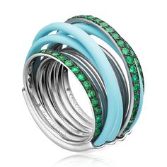 ALLEGRA Turquoise and Emerald Ring | De Grisogono