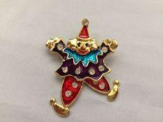 VTG. RED & PURPLE ENAMEL RHINESTONE ARTICULATED CLOWN GOLD TONE BROOCH~  | eBay