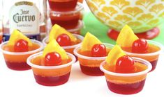 Tequila Sunrise Jell-O Shot Recipe: These delicious tequila sunrise Jello shots are the perfect cocktail for backyard summer bbqs and pool parties! Get this yummy jello shot recipe and be the hit of the party this summer! Tequila Sunrise Jell-O Gin Recipes, Jello Shot Recipes, Best Cocktail Recipes, Cherry Recipes, Alcohol Drink Recipes, Easy Recipes, Yummy Jello Shots, Strawberry Margarita Jello Shots, Tequila Sunrise