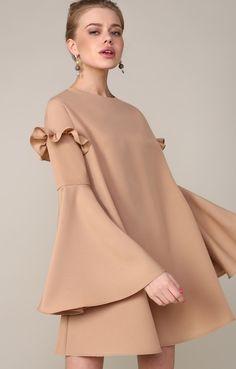 Платье-трапеция с пышными рукавами и рюшами TOP20 Studio 250422, купить за 4830 руб в интернет-магазине TopTop.ru