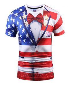 Fashion America Style 3D Print Slim Fit T-shirts Men Short Sleeve Tee Shirts Lot