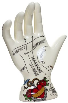 tattooed palmistry hand - ring display