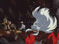 My first gif. I know that for many of you making gifs is as natural as breathing, but for me it was a victory to make this thing light enough to move here. This scene makes me laugh a lot, and it still makes me smile. Inuyasha Memes, Manga Anime, Anime Art, Inuyasha Love, I Love Anime, My Chemical Romance, Studio Ghibli, Cartoon Characters, Fantasy Art