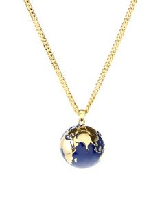Sapphire blue earth globe necklace antique pewter sapphire blue kitson 14ct gold plated enamel globe pendant necklace 4243 at asos aloadofball Choice Image
